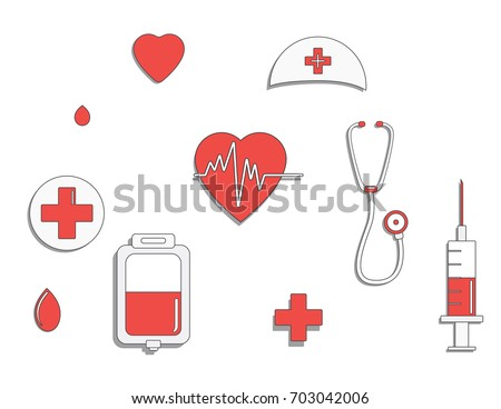 Medicine concept. donate blood and save life. Donation give love. ullustration sticker set. Pack of icons for design. World blood donor day. International holiday.