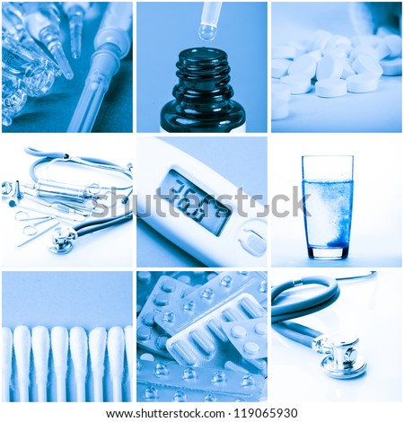 Medicine concept - tools and drugs in blue tone