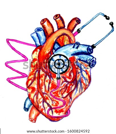 Medicine diagnosis instrument, stethoscope with human heart, hand drawn illustration.