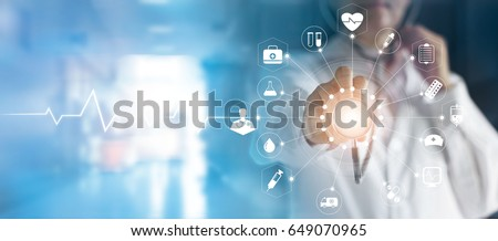 Photo of Medicine doctor and stethoscope in hand touching icon medical network connection  with modern virtual screen interface, medical technology network concept