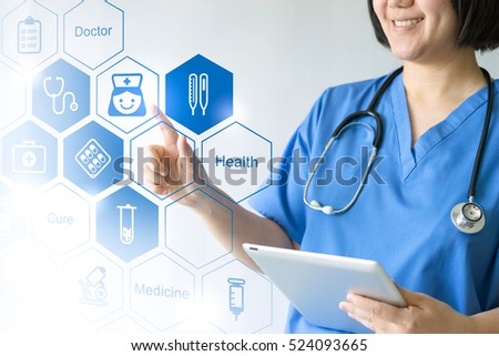 Medicine doctor & nurse working with medical icons #524093665