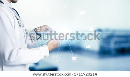 Medicine doctor or pharmacist use tablet or mobile phone.Health care and medical or Health Insurance concept.