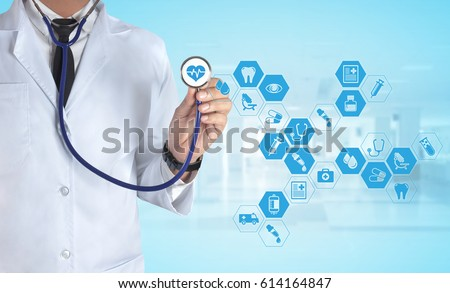 Medicine Doctor with stethoscope in a hospital