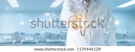 Medicine doctor with stethoscope in hand touching medical network icon and global connection on modern virtual screen interface, medical technology network concept