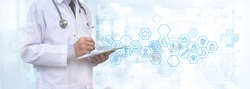 Medicine doctor with stethoscope using digital tablet with medical icons global network connection with modern virtual screen interface, medical technology network, telemedicine, online health concept