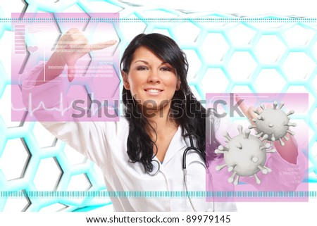 Medicine doctor working with futuristic interface, doing medical exams for various functions like heart activity, viruses