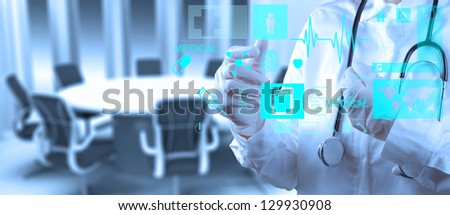 Medicine doctor working with modern computer interface as concept