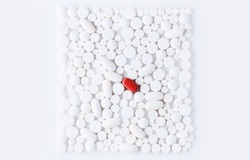 Medicine for treatment HIV infection. HIV/AIDS HAART - highly active antiretroviral therapy. heart attack or covid treatment. White pills on white background
