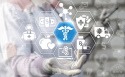 Medicine health care caduceus science web medical concept. First aid healthcare technology. Doctor offer caduceus conceptual icon