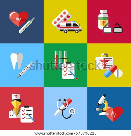 medicine health care color simple icons
