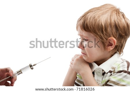 Medicine healthcare syringe injecting scared child