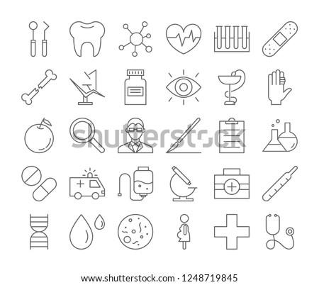 Medicine icons set. Linear illustrations of medical equipment.