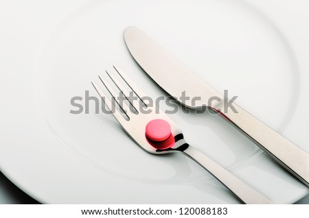 Medicine in plate with fork and knife