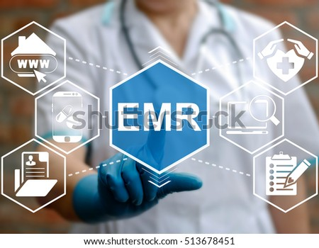 Medicine, information technology, healthcare concept - doctor presses emr acronym word. Electronic medical records service, support. Nurse touched emr sign. Medical, treatment, application, insurance. Stock photo ©