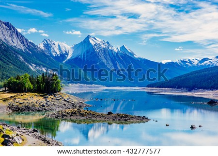 Medicine Lake is located within Jasper National Park, Alberta, Canada. It is located approximately 20 km southeast of the townsite of Jasper, Alberta. Medicine Lake is 7 km long and is a shallow lake. #432777577