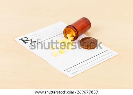 Medicine on blank prescription form