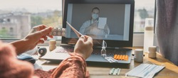 Medicine,online.Telehealth.doctor conducts remote consultation, provides online medical assistance.Virtual visit,virtual communication,healthcare providers, digital virtual new normal,covid 19