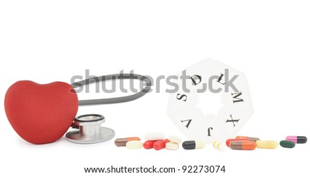 Medicine Pills Capsules Tablets Red Heart Pill Box with Spanish Week