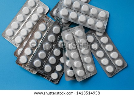 medicine pills in packs.Pills in blister pack,Capsules and pill packed in blisters. copy space