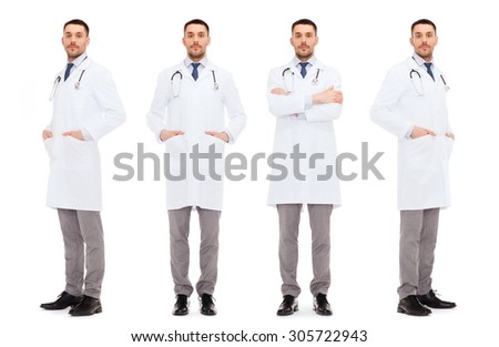 medicine, profession and health care concept - doctors with stethoscope