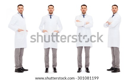 medicine, science, profession and health care concept - doctors in white coat