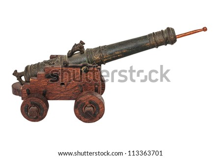 Medieval antique miniature cannon isolated on white