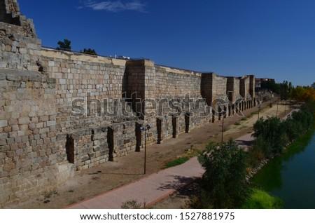 Medieval Arab fortress in Merida. Alcazaba Merida. Towers and walls. Merida. Province Caceres. Extramadura Region. Spain. #1527881975