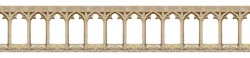 Medieval arches isolated on white background. Elements of architecture, ancient arches, columns, windows and apertures