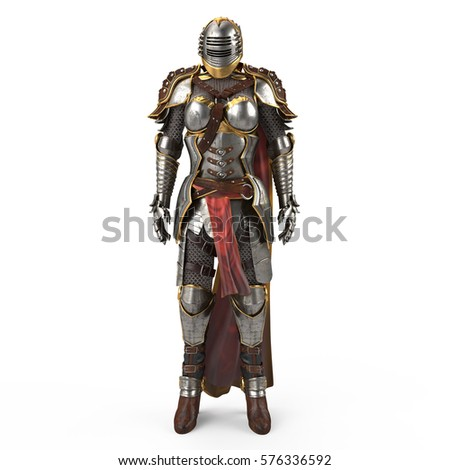 Stock Photo medieval armor of fantasy full of women with a closed helmet and red cape. isolated white background. 3d illustration