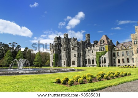 Medieval Ashford castle and gardens - Co. Mayo - Ireland.
