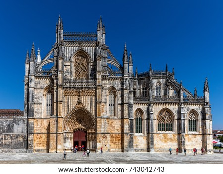 Medieval Batalha Monastery in Batalha, Portugal, a prime example of Portuguese Gothic architecture, UNESCO World Heritage site, started in 1386 but never actually completed. #743042743