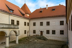 Medieval Bauska Castle courtyard. Castle is two castles in one - the medieval ruins of earlier castle, built for Livonian Order, and the renaissance elegance of a later palace.