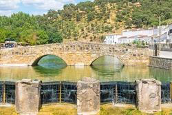 Medieval bridge in the town of San Nicolas del Puerto, Seville, Andalusia, Spain