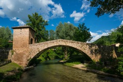 Medieval bridge of Saint Francis from Assisi in Subiaco (Rome) Italy - Front view