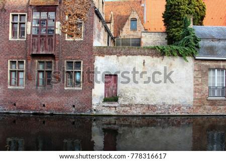 medieval building facades on...
