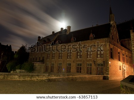 Medieval building in Bruges, Belgium, at night