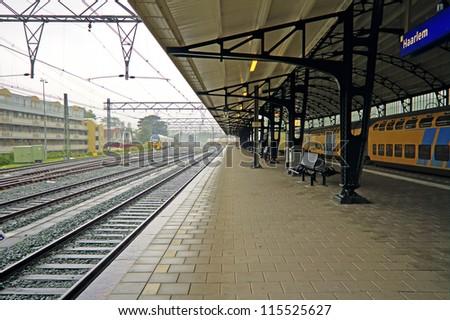 Medieval building station Haarlem in the Netherlands