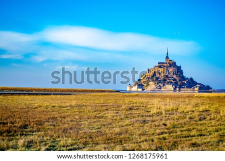 Medieval castle, against the blue sky and white clouds, the castle on the island, the castle is surrounded by water, green grass, a fortress and abbey, an incredibly beautiful castle like  fairy tale #1268175961