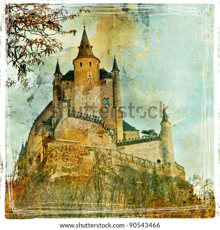 medieval castle Alcazar, Segovia,Spain- picture in paintig style
