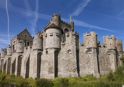 Medieval castle  and blue sky in Gent, Belgium