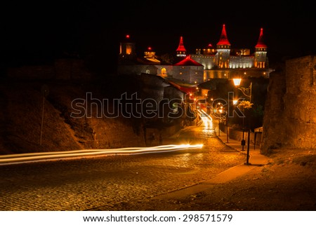 Medieval castle at night. View of a beautiful castle at night.