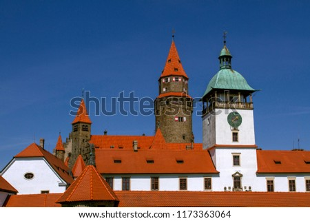 """Medieval Castle """"Bouzov"""" a background of the blue sky. Located in the South Moravia region in Czech republic, Europe. Tourism in Europe. #1173363064"""