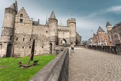 Medieval castle Het Steen in Antwerp. Castle Han Steen iz landmark and main touristic attraction in Antwerpen.