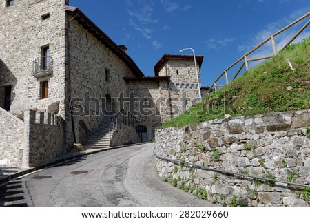 Medieval castle in the blue sky