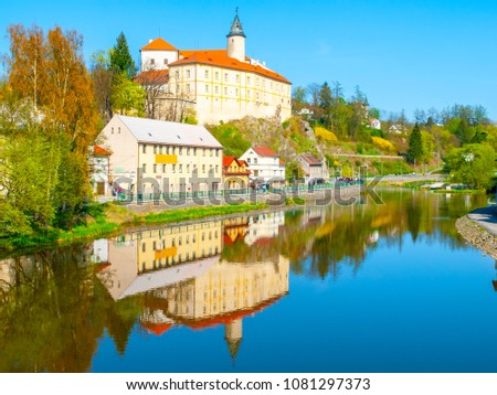 Medieval Castle Ledec nad Sazavou. Reflection in Sazava River, Czech Republic.