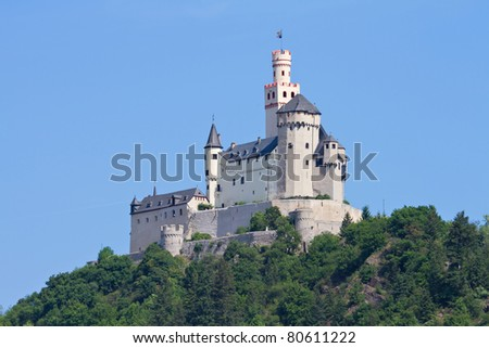 Medieval castle Marksburg on a hill over the river Rhine, Rhineland Palatine, Braubach, Germany