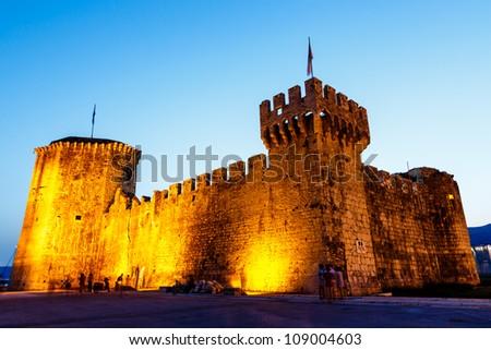 Medieval Castle of Kamerlengo in Trogir Illuminated in the Night, Croatia