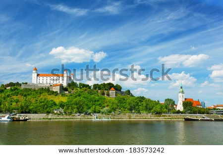 Medieval castle on the hill against the sky, Bratislava, Slovakia