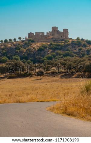 Medieval castle on the rock, Belvis de Monroy Spain, view of the beautiful castle Stock photo ©