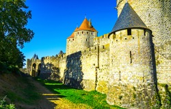Medieval castle towers wall. Castle wall tower view. Medieval castle wall scene. Castle walls towers